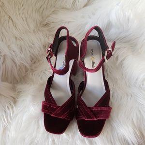 Seven dials meroon velvet strappy sandal